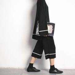 Porta - Set : Ribbed Loose-fit Knit Top + Wide-leg Pants