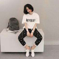 NANING9 - Lettering Dip-Back T-Shirt