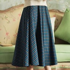 GU ZHI - Plaid A-Line Skirt