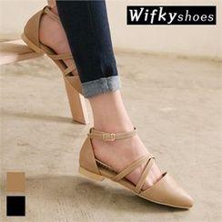 Wifky - 尖头踝扣带乐福鞋