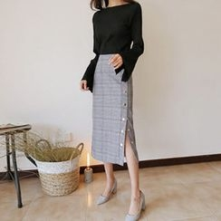 Hello sweety - Buttoned Plaid Midi Skirt