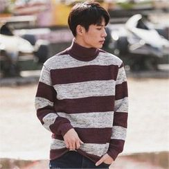 Superstar.i - Turtle-Neck Striped Knit Top