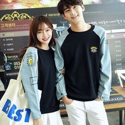 Azure - Couple Matching Eye Embroidered Denim Panel Pullover
