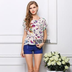 LIVA GIRL - Short-Sleeve Bird Print Chiffon Top