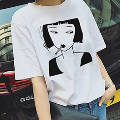 Melon Juice - Girl Print Short-Sleeve T-Shirt