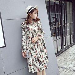 RUI - Floral Print Long-Sleeve Chiffon Dress