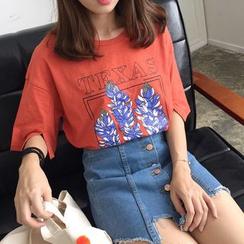 時尚麻豆家 - 碎花短袖T恤