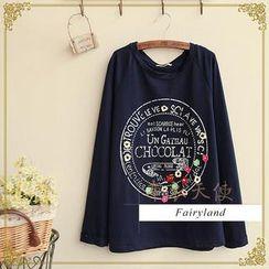 Fairyland - Long-Sleeve Lettering Flower Accent T-Shirt