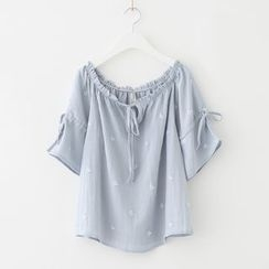 Meimei - Embroidered Short-Sleeve Blouse