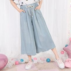 Fairyland - Washed Cropped Wide Leg Jeans