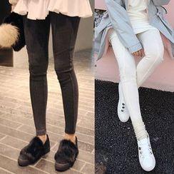 Seoul Fashion - Band-Waist Seam-Detail Leggings