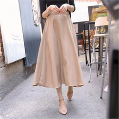 TOM & RABBIT - Band-Waist A-Line Long Skirt