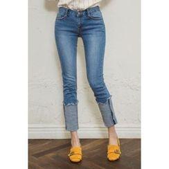 migunstyle - Washed Cuff-Hem Jeans