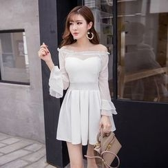 Louise - Off Shoulder Long Sleeve A-Line Dress