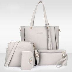 Diamante - Set of 4: Faux Leather Tote + Crossbody Bag + Clutch + Card Holder