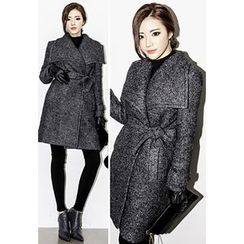 INSTYLEFIT - Wide-Lapel Wool Blend Coat with Sash