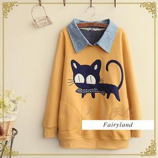 Fairyland - Cat Appliqué Collared Pullover