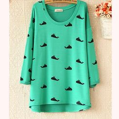 Ringnor - Drop-Shoulder Whale Print Top