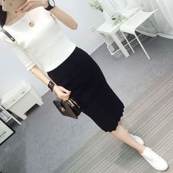 Hibisco - Slit Knit Midi Skirt