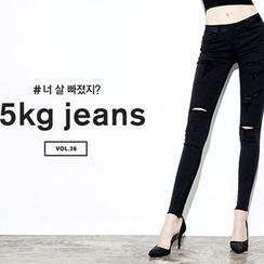 chuu - 散擺做舊窄身 -5kg 褲