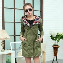 AiSun - Snap-Button Hooded Trench Coat