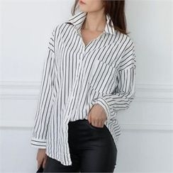 CHICFOX - Pocket-Front Pinstripe Cotton Shirt
