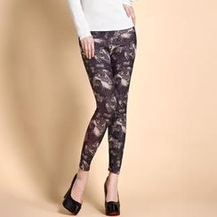 Moonbasa - Brushed-Fleece Printed Leggings