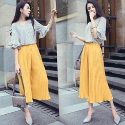 Ashlee - Set: V-Neck Striped Elbow Sleeve Blouse + Cropped Pleat Wide Leg Pants