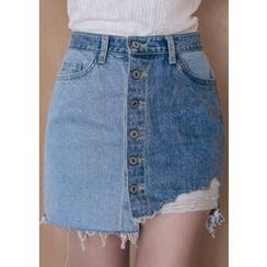 Chlo.D.Manon - Buttoned Distressed Two-Tone Denim Mini Skirt