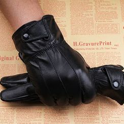 Fow Fow - Genuine Leather Fleece-lined Gloves