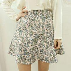 Dodostyle - Floral Patterned Ruffle-Hem A-Line Skirt