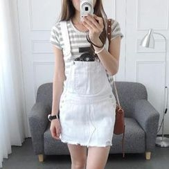 CYNTHIA - Distressed Denim Jumper Skirt