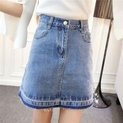 RUI - Washed A-Line Denim Skirt