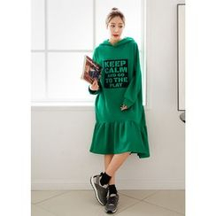 J-ANN - Hooded Frill-Hem Lettering Pullover Dress