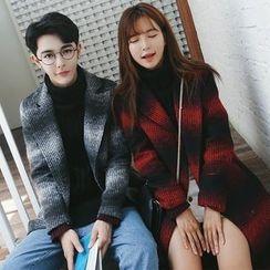 Bay Go Mall - Couple Woolen Plaid Long Coat