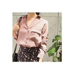 CHERRYKOKO - Flap-Pocket Long-Sleeve Shirt