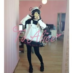 GOGO Girl - Long-Sleeve Rabbit Pullover Dress