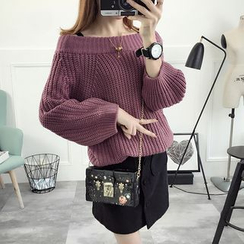 TIMI - Off-Shoulder Chunky Knit Sweater