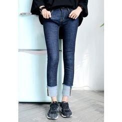 DEEPNY - Turn-Up Hem Stitched Skinny Jeans