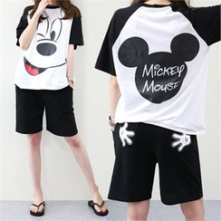 PINKSISLY - Set: Mickey Mouse Print T-Shirt + Shorts