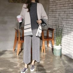 Hello sweety - Open-Front Patterned Wool Blend Cardigan