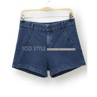 YOZI - High-Waist Denim Shorts