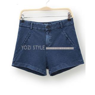 YOZI - High-Waist Denim Shorts