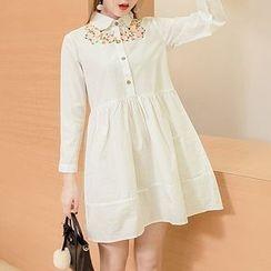 Soswift - 孕婦刺繡襯衫裙