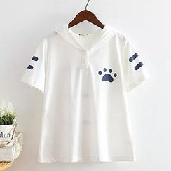 白金天使 - 貓耳帽短袖T恤