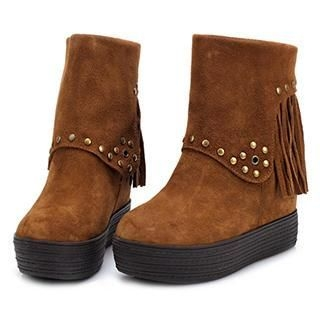 Exull - Genuine-Leather Fringed Platform Short Boots