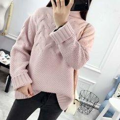 Angel Love - Plain Cable Knit Turtleneck Sweater