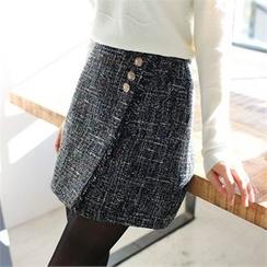Styleberry - Button-Front Tweed Skort