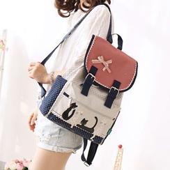 Canvas Love - Cat Appliqué Canvas Backpack