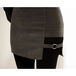 Marlangrouge - Buckled Cutout-Hem Mini Pencil Skirt